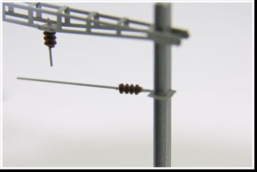Arm für Fahrleitung mit kurzem Isolatorenabstand zum Masten, 10 Stück, Bausatz.  (Sommerfeldt kompatibel)
