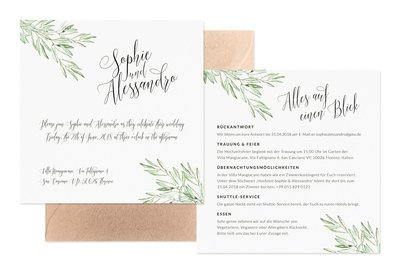 """Hochzeitseinladung """"Olivenblätter"""""""