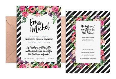 """Hochzeitseinladung """"Flowers & Stripes"""""""
