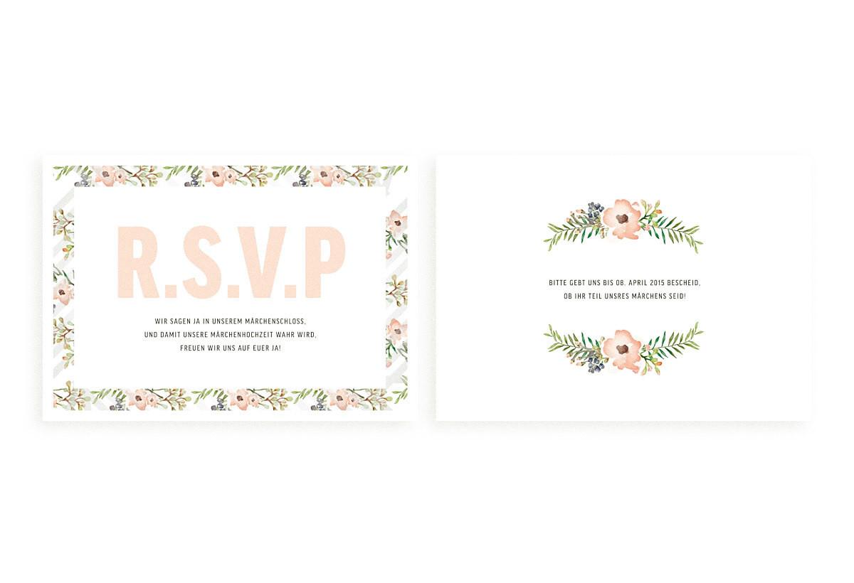 """Antwort-Hochzeitskarte """"Painted Flowers"""""""