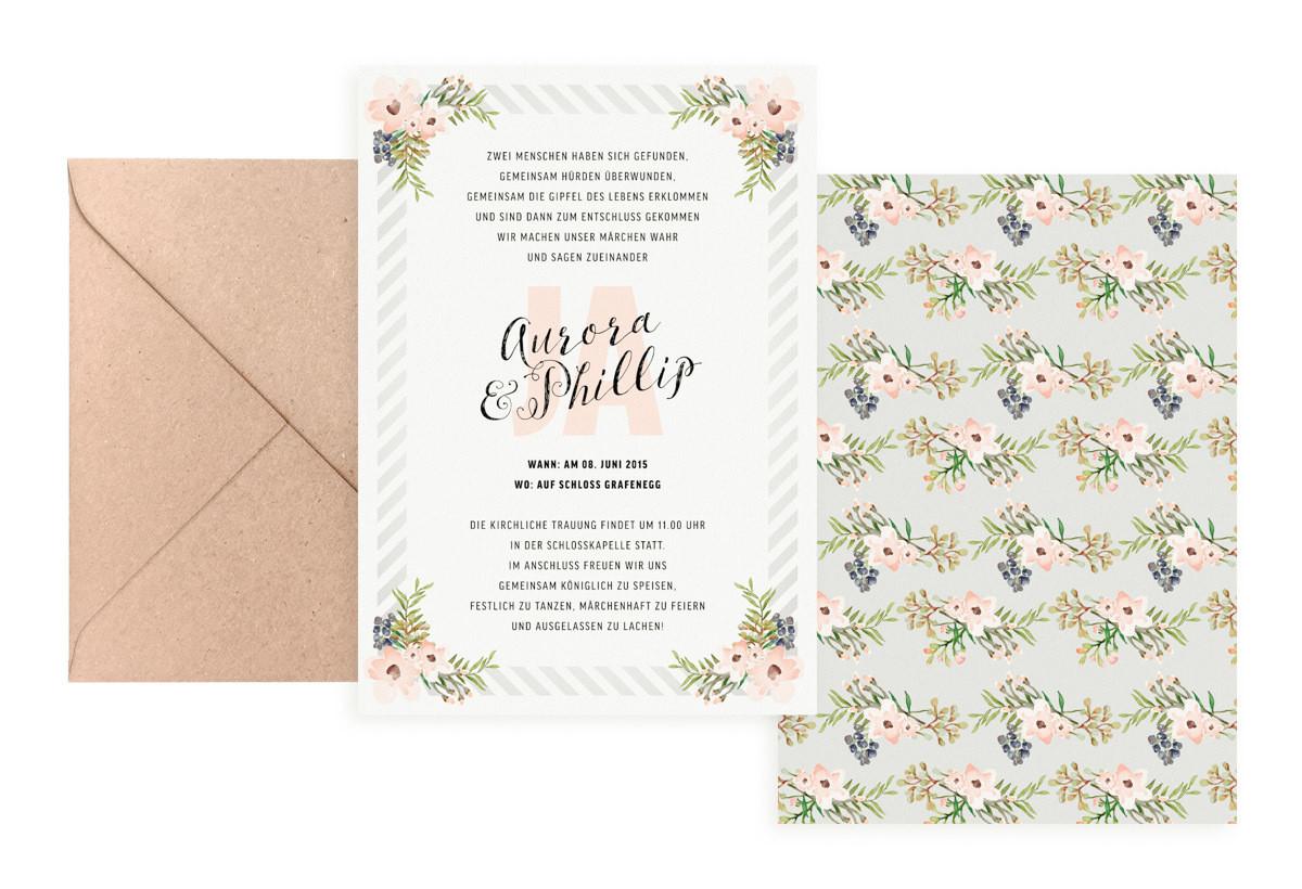 """Hochzeitseinladung """"Painted Flowers"""""""