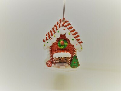 Red Gingerbread House with Candy Canes