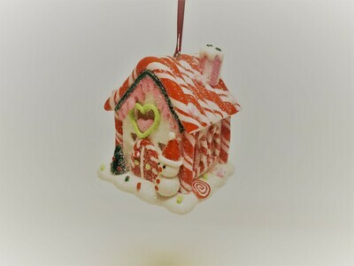 White Gingerbread House with Candy Cane Roof