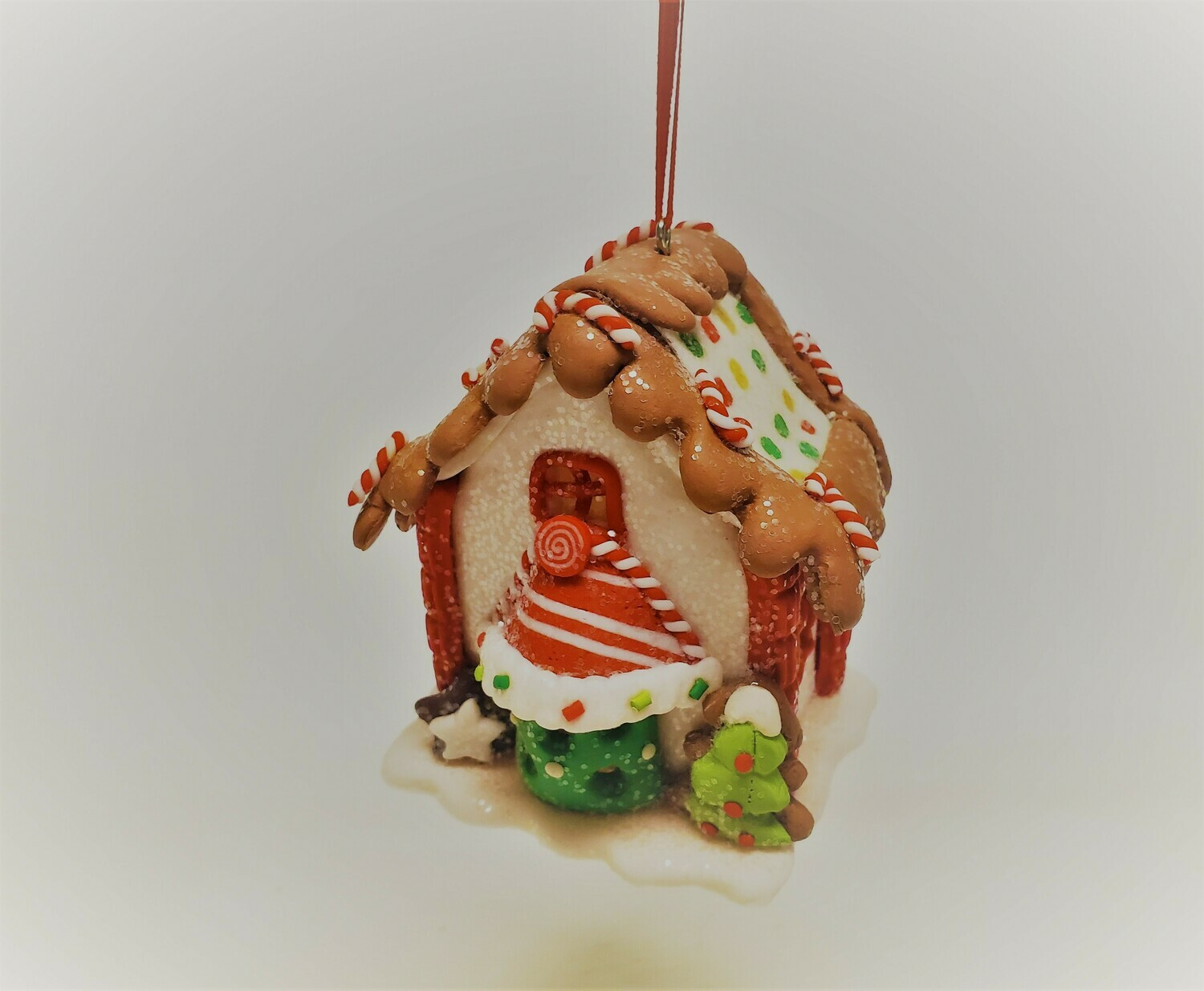 White Gingerbread House with Chocolate Icing