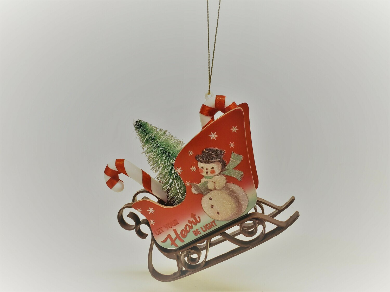 Santa's Sleigh with Snowman