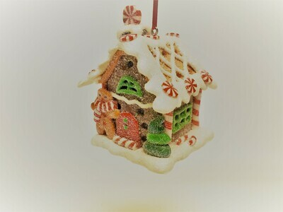 Brown Gingerbread House with a Peppermint Chimney