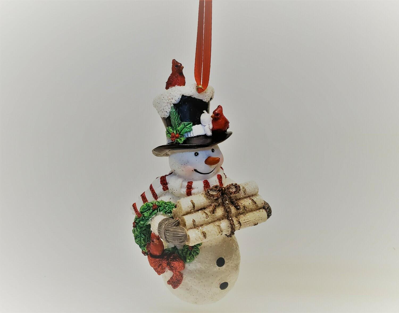 Snowman with a Bundle of Logs