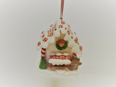 White Gingerbread House with Gingerbread Man