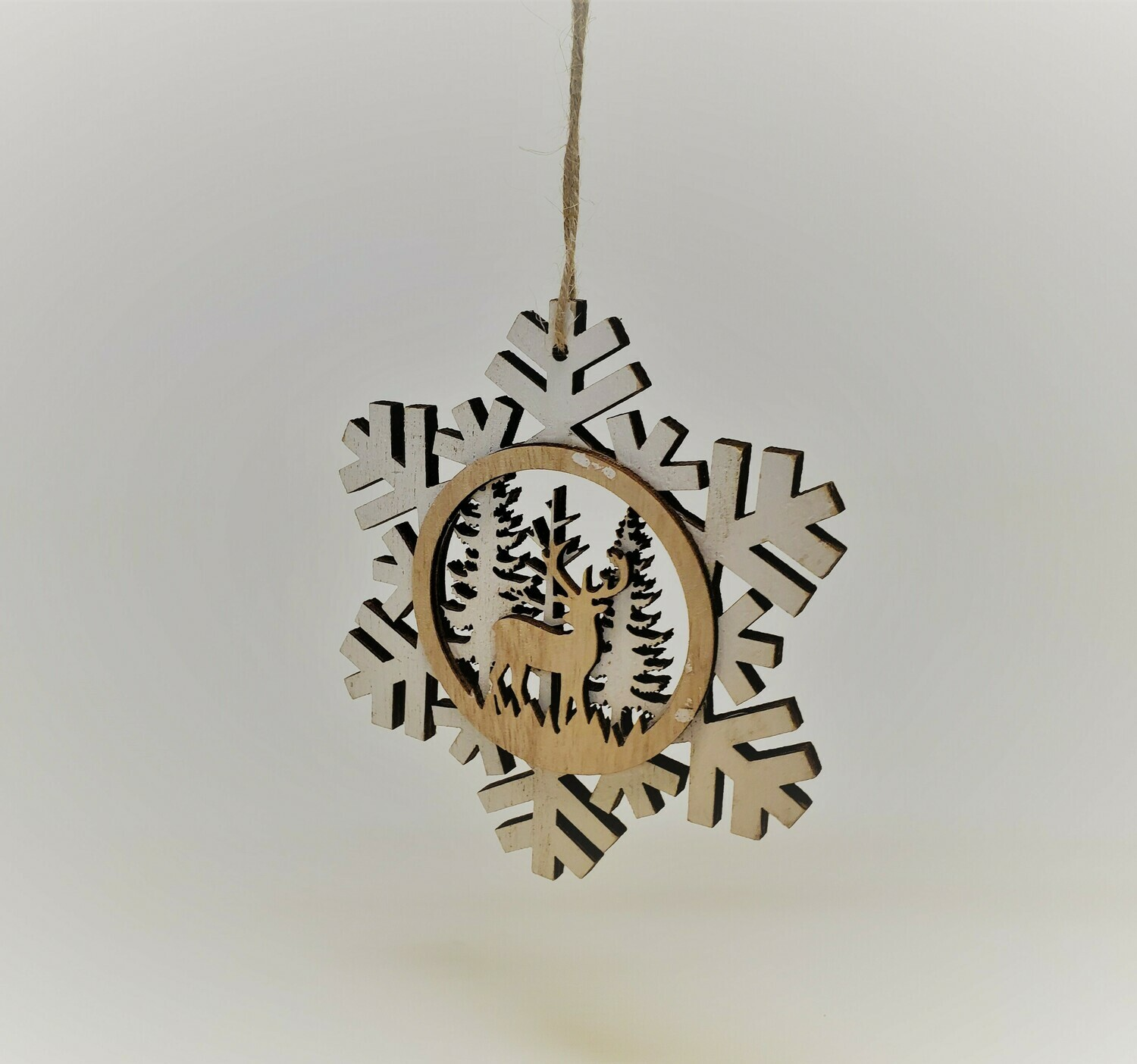 Wooden Snowflake with a Deer