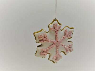 Pink and White Snowflake Sugar Cookie