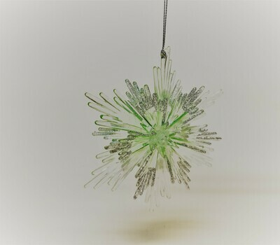 Green and Silver Pointed Snowflake