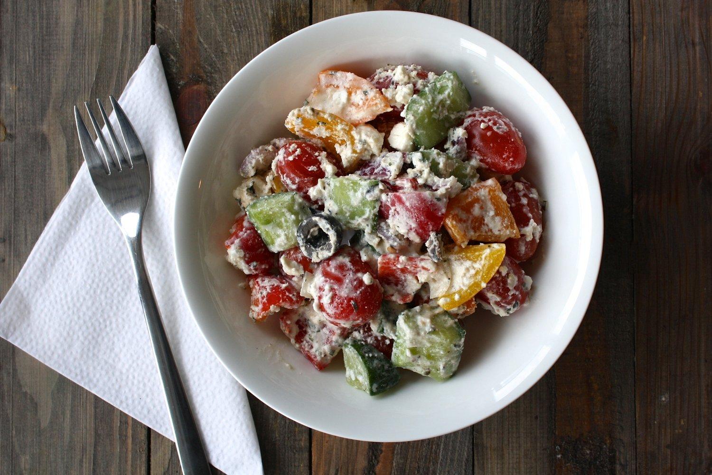 (L) Greek Salad w/ Greek Yogurt Balsamic Dressing