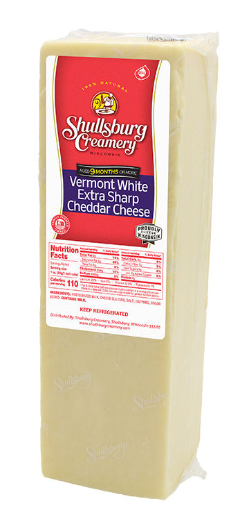VERMONT WHITE SHARP CHEDDAR - Aged 9 Months or More! (whole loaf)