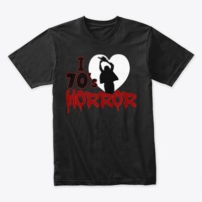 I Love 70s Horror Men's Premium Cotton T-Shirt [CHOOSE COLOR] [CHOOSE SIZE]