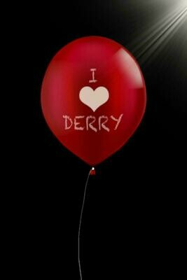 I Love Derry (IT / Stephen King) Luxury Lined Notebook - Journal Diary Writing Paper Note Pad Book Horror Movie Replica Red Balloon