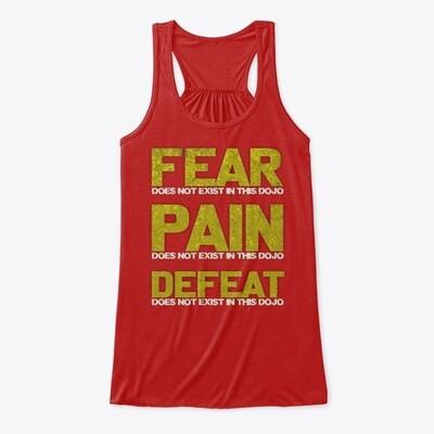 FEAR DOES NOT EXIST IN THIS DOJO (Cobra Kai / Karate Kid) Women's Premium Flowy Tank Top [CHOOSE COLOR] [CHOOSE SIZE]