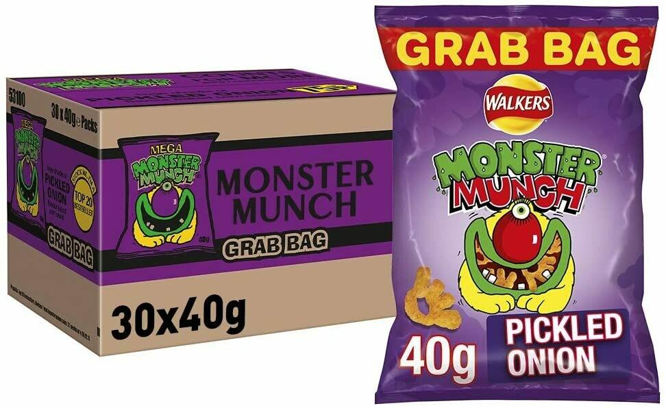 Walkers Crisps Monster Munch Pickled Onion Snacks 30 x 40g Bags [Box of 30 Packs]