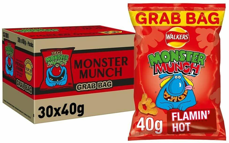 Walkers Crisps Monster Munch Flamin' Hot Snacks 30 x 40g Bags [Box of 30 Packs]
