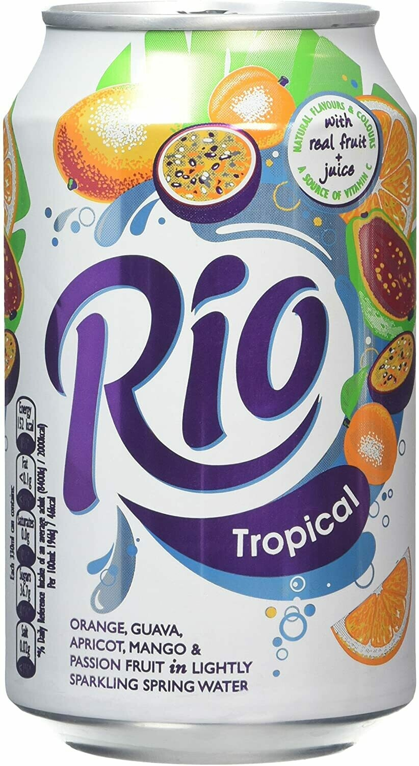 Rio Tropical Fruit Juice Drink 24 x 330ml Can Soda Drink
