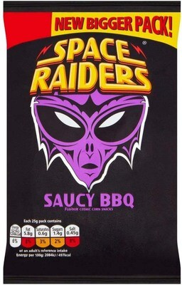 Space Raiders SAUCY BBQ Flavoured Cosmic Corn Snack Crisps Large 25g Pack [24 PACKS]