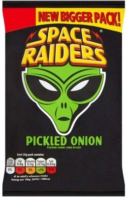 Space Raiders Pickled Onion Flavoured Cosmic Corn Snack Crisps Large 25g Pack [24 PACKS]