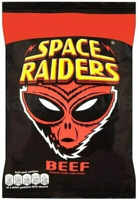 Space Raiders BEEF Flavoured Cosmic Corn Snack Crisps Large 25g Pack [24 PACKS]