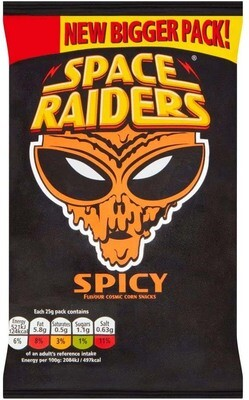 Space Raiders SPICY Flavoured Cosmic Corn Snack Crisps Large 25g Pack [24 PACKS]