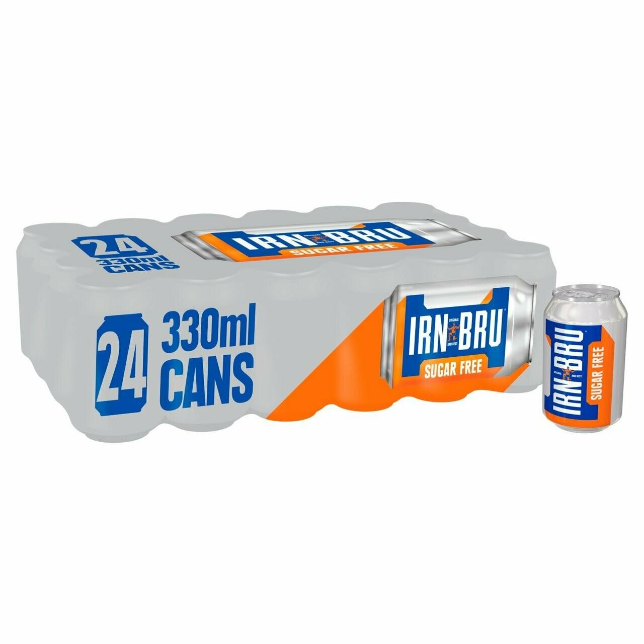 IRN-BRU Sugar Free Soda Drink 330ml Can [CASE OF 24]