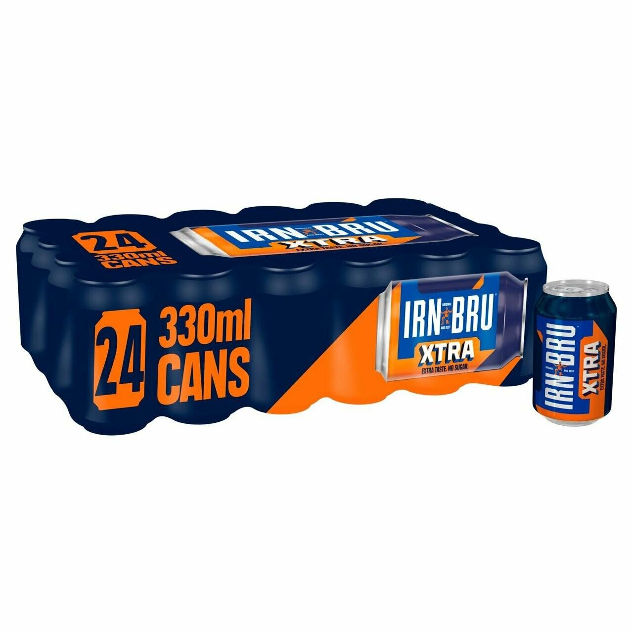 IRN-BRU Xtra Sugar Free Soda Drink 330ml Can [CASE OF 24]