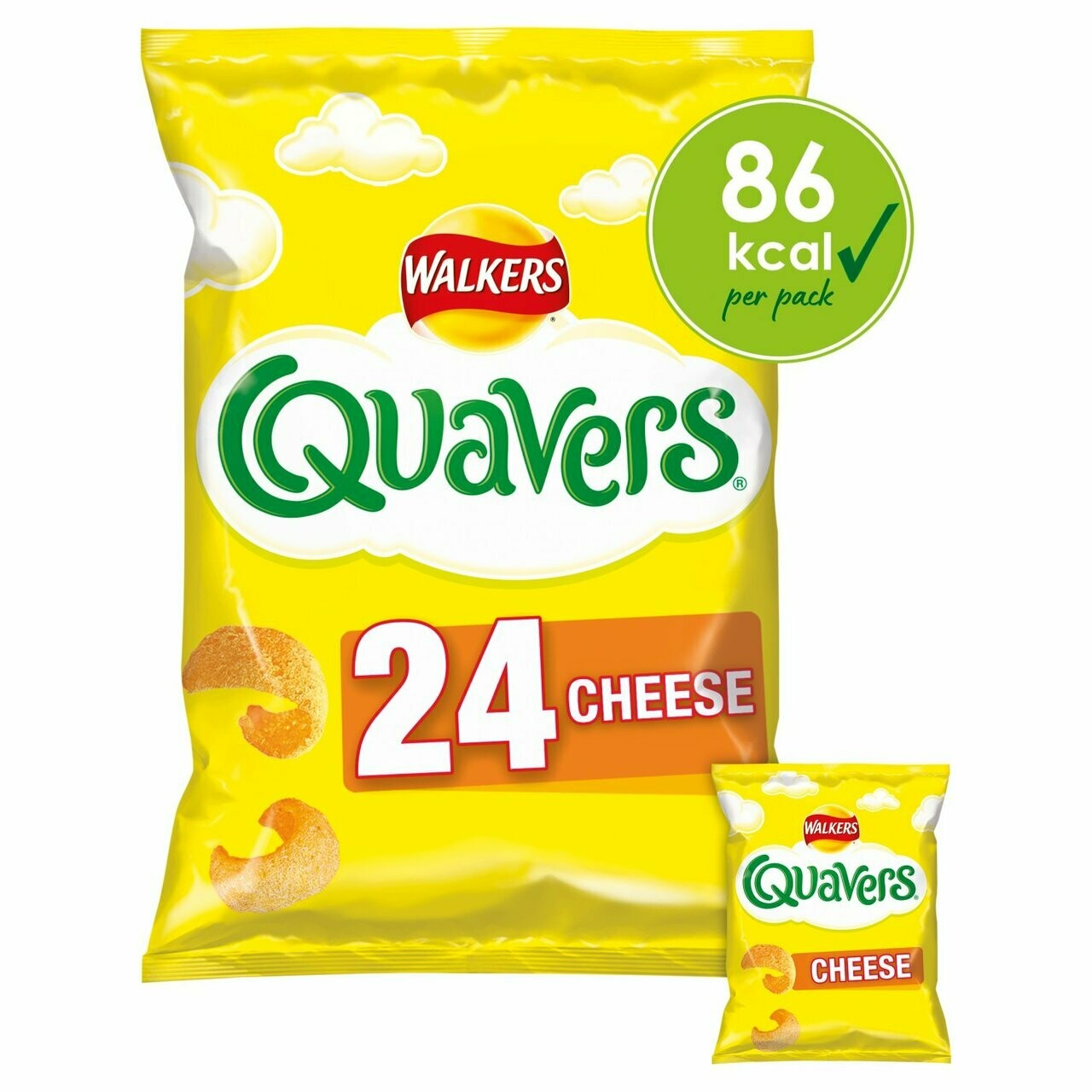 Walkers Quavers Cheese Snacks Multipack 16g Bag [24 PACK]