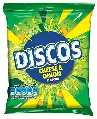 Discos Cheese & Onion Flavour Crisps 25.5g Bags [24 PACKS]