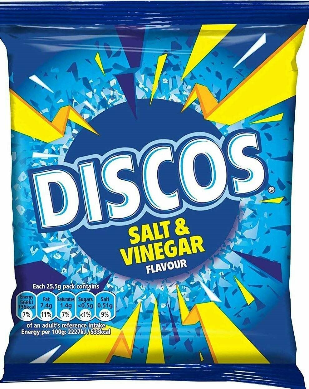 Discos Salt & Vinegar Flavour Crisps 25.5g Bags [24 PACKS]