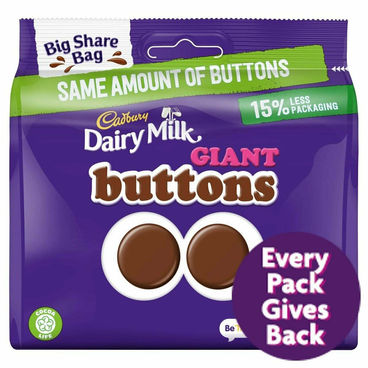 Cadbury Dairy Milk Giant Buttons Big Share Bag 240g