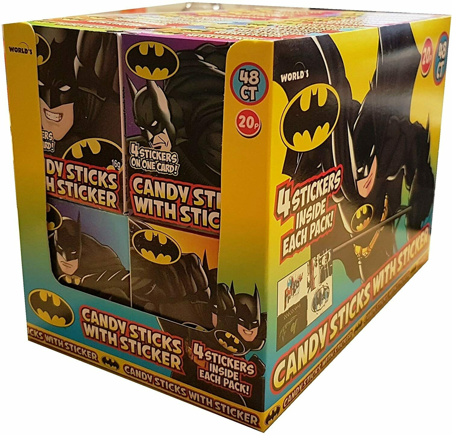 Batman - Assorted Sweet Candy Sticks with Mini Stickers [48 PACK]