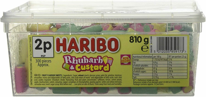Haribo Rhubarb and Custard Sweets 810g Tub