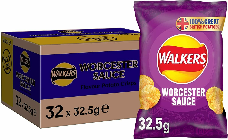 Walkers Worcester Sauce Crisps Box 32.5g [BOX OF 32 PACKS]