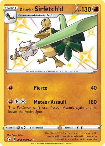Pokemon Trading Card: Shining Fates - Galarian Sirfetch'd SV064/SV122
