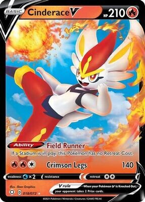 Pokemon Trading Card: Shining Fates - Cinderace V 018/072