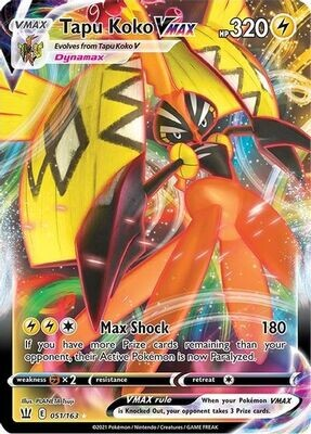 Pokemon Trading Card: Battle Styles - Tapu Koko VMAX 051/163