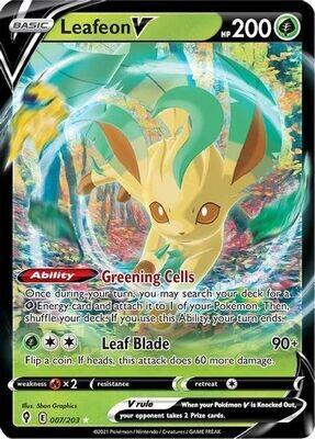Pokemon Trading Card: Evolving Skies - Leafeon V 007/203