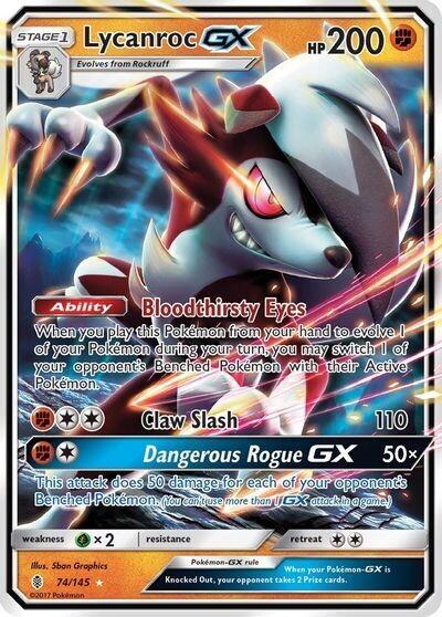 Pokemon Trading Card: Guardian's Rising - Lycanroc GX 74/145