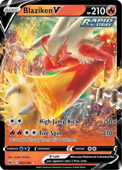 Pokemon Trading Card: Chilling Reign - Blaziken V 020/198