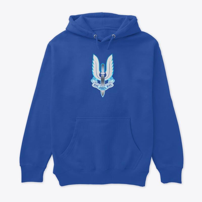 Who Dares Wins Arctic (British SAS Special Forces) Unisex Premium Pullover Hoodie [CHOOSE COLOR] [CHOOSE SIZE]