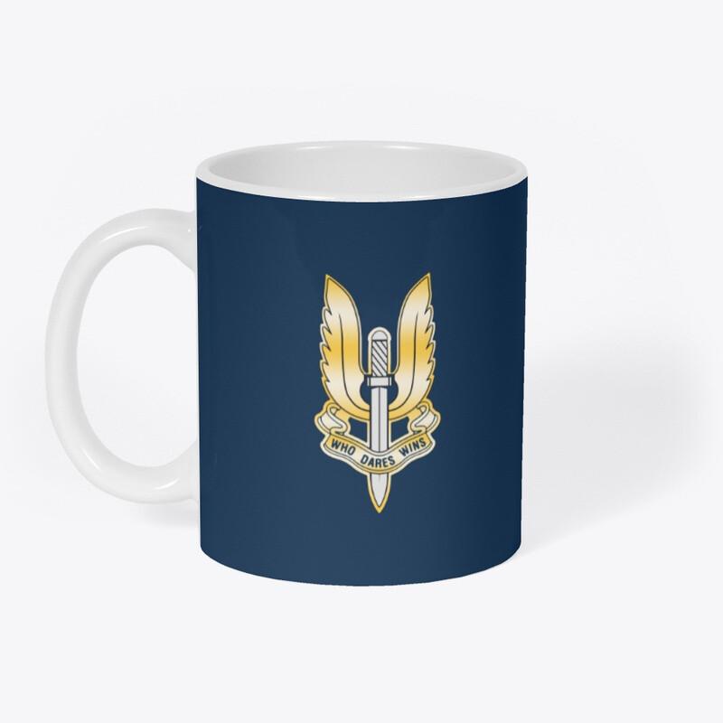 Who Dares Wins Gold Logo (British SAS Special Forces) Coffee Cup Mug [CHOOSE COLOR]