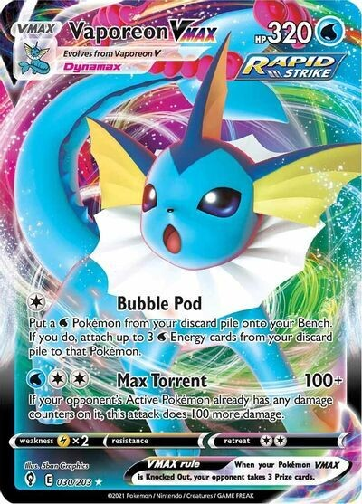 Pokemon Trading Card: Evolving Skies - Vaporeon VMAX 030/203