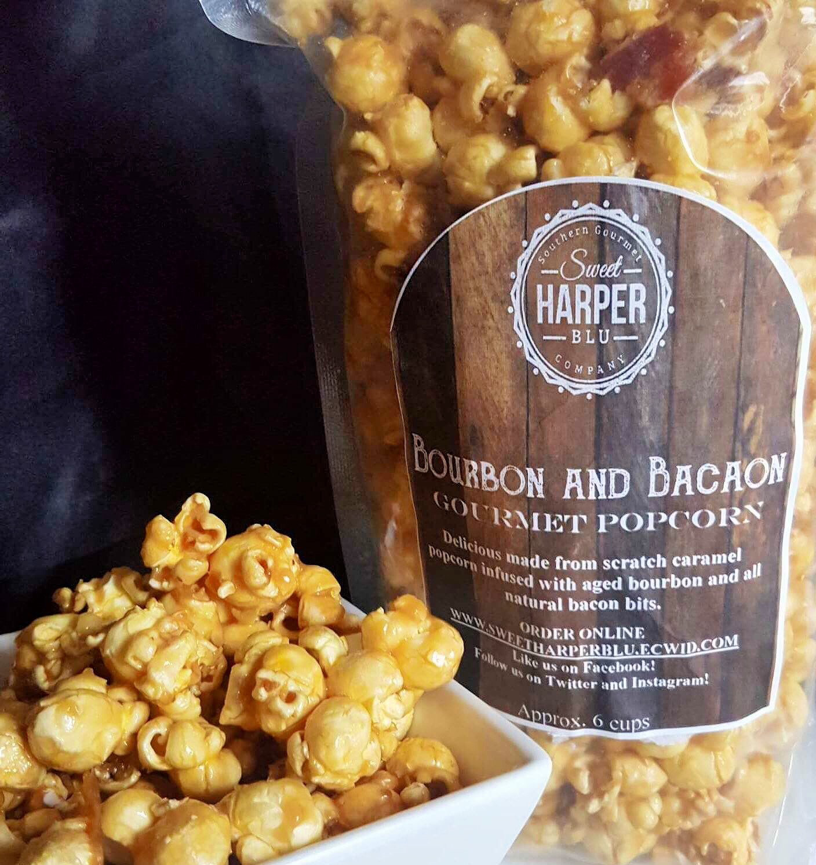 Bourbon and BACON Caramel Popcorn