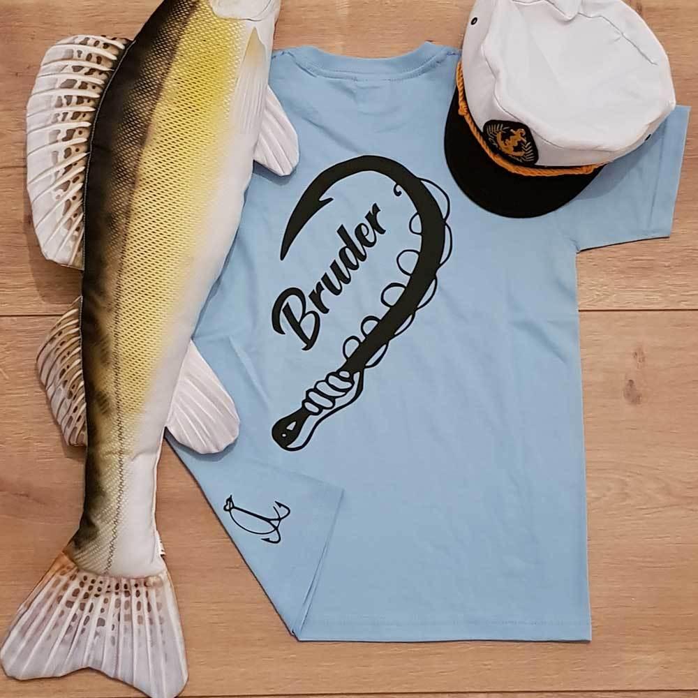 """""""Angler & Angler / Bruder & Bruder"""" T-Shirt Partnerset (Kindergröße 90 bis XXXL)"""