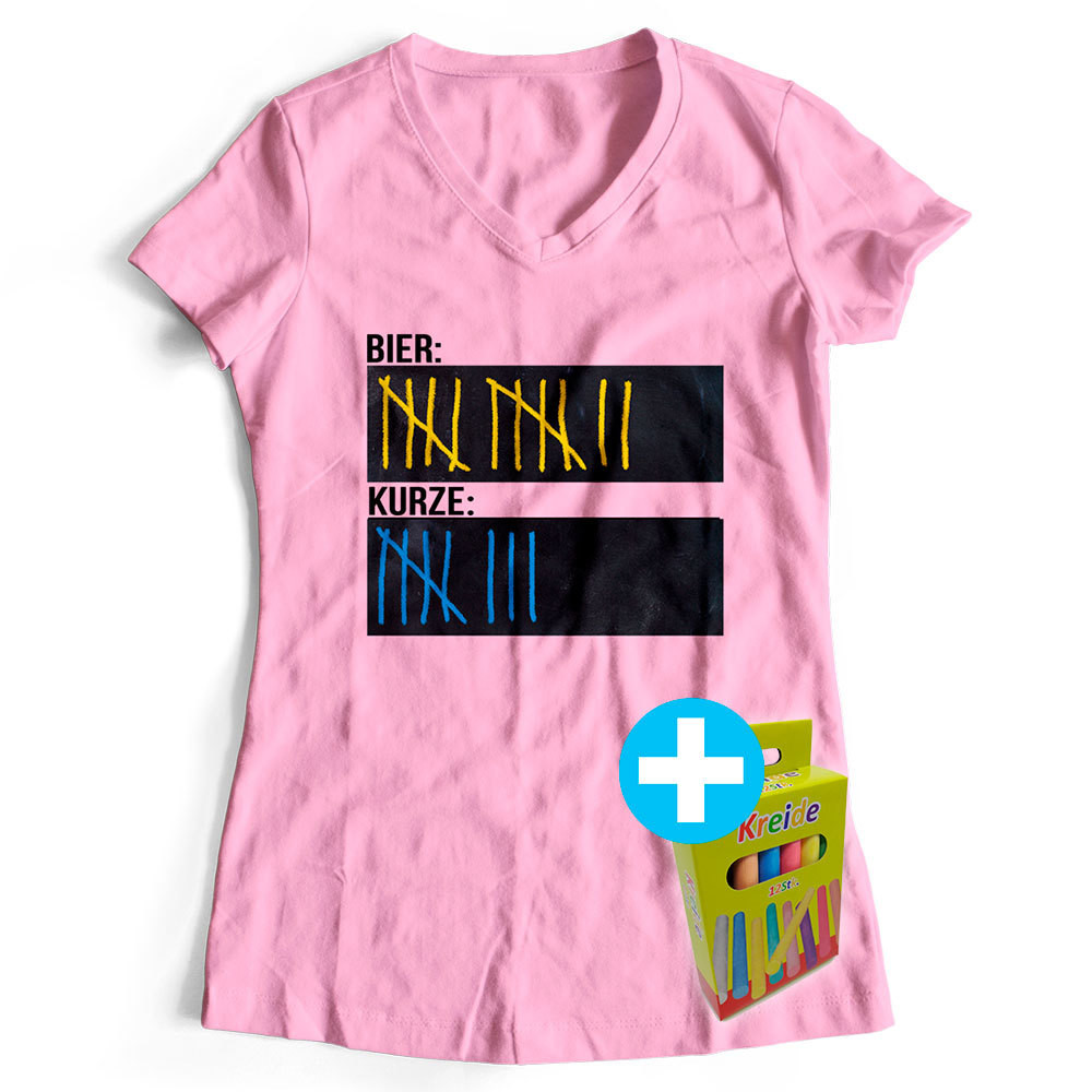 Original Sauf-Counter Classic T-Shirt (Damen Rosa)