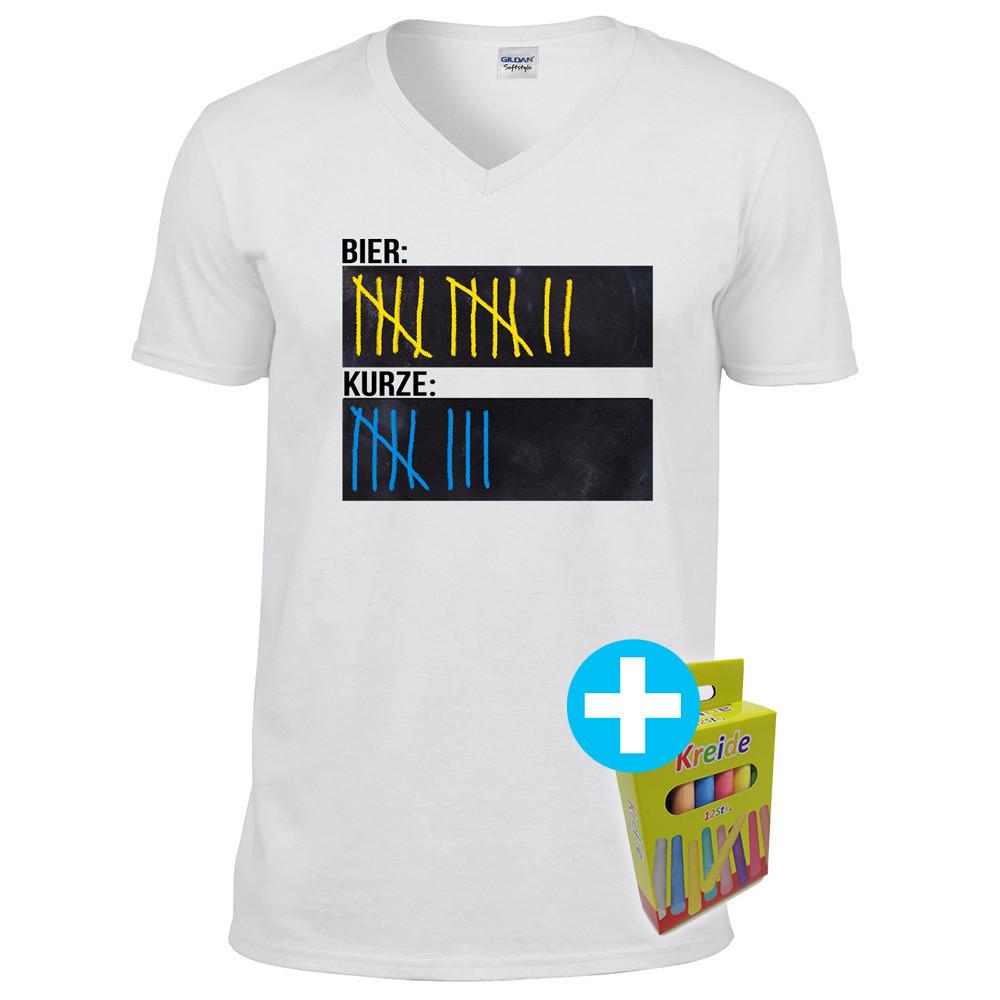 Original Sauf-Counter Classic T-Shirt (Herren, V-Neck, Weiß)