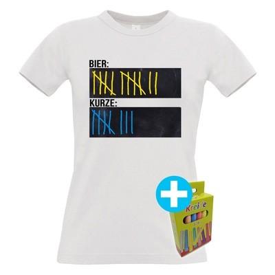 Original Sauf-Counter Classic T-Shirt (Damen Rundhals, Farbe Weiß)